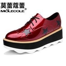 莫蕾蔻蕾鞋子女2019新款百搭学生韩版厚底星星松糕鞋英伦休闲单鞋70068ML