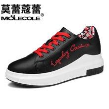 莫蕾蔻蕾小白鞋女2018新款系带百搭韩版学生内增高女鞋休闲单鞋子女70086ML