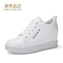 东帝名坊2018春季新款时尚运动女高跟休闲松糕女鞋内增高系带深口乐福鞋 L75K002