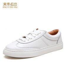 东帝名坊圆头系带小白鞋女平底板鞋女运动休闲鞋女韩版潮女鞋65Y035