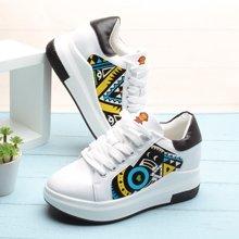 100KM猩猩猴 新款内增高厚底系带松糕鞋韩版时尚pu皮面舒适轻便休闲小白鞋