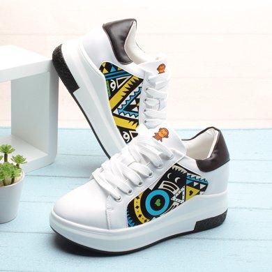 100KM猩猩猴 新款內增高厚底系帶松糕鞋韓版時尚pu皮面舒適輕便休閑小白鞋