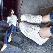 OKKO女鞋小白鞋牛皮厚底内增高单鞋透气运动休闲鞋平底X1613