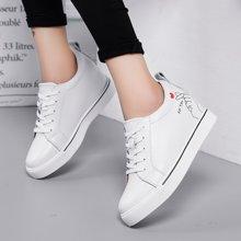 休闲内增高女鞋真皮坡跟厚底韩版单鞋百搭系带小白鞋X903