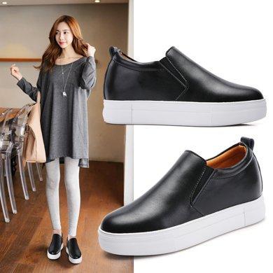 樂福鞋女鞋小白鞋牛皮厚底內增高單鞋透氣休閑平底x2385