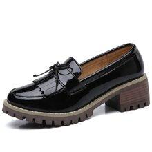 西瑞休闲鞋女韩版女鞋搭流苏小皮鞋粗跟女鞋方跟鞋MN985
