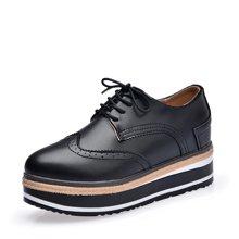 西瑞布洛克女鞋松糕底女鞋系带坡跟厚底鞋雕花内增高女鞋MN1610-1