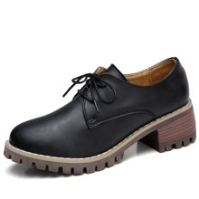 西瑞休闲鞋女韩版女鞋搭系带小皮鞋粗跟女鞋方跟鞋MN981