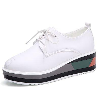 西瑞坡跟女鞋时尚迷彩松糕鞋女小白鞋小皮鞋MN798