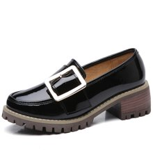 西瑞休闲鞋女韩版女鞋搭扣小皮鞋粗跟女鞋方跟鞋MN986