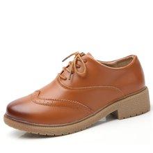 西瑞韩版布洛克休闲鞋女系带小皮鞋时尚粗跟单鞋女MN808-1