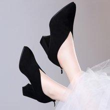 百年纪念新款尖头粗跟低帮鞋 后拉链纯色高跟鞋 防水台女鞋子bn1614
