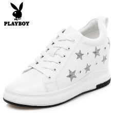花花公子女鞋板鞋女新款韩版百搭学生系带增高厚底小白鞋L157730354