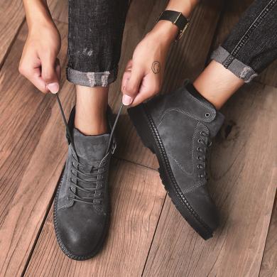 西瑞新款高幫休閑鞋男時尚百搭工裝靴潮流馬丁靴MF051