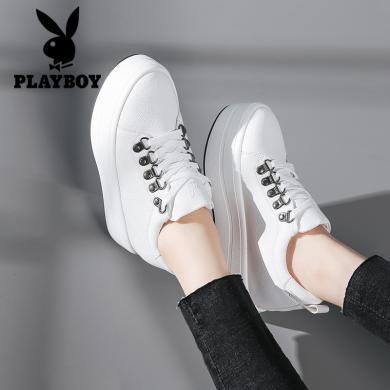 花花公子女鞋內增高白色休閑鞋女韓版百搭小白鞋女系帶厚底松糕跟內增高L101730429W