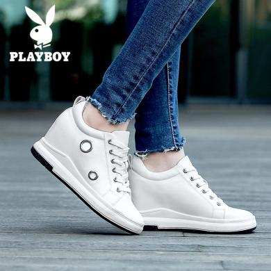 花花公子女鞋新款時尚百搭內增高厚底休閑鞋輕便個性板鞋L157730349h