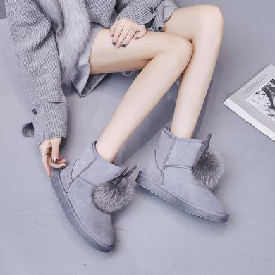 西瑞新款雪地靴女时尚高帮毛球兔耳雪地靴女短靴LZP888
