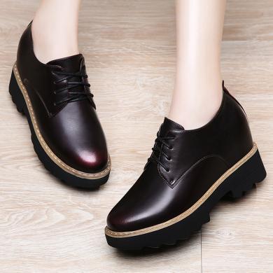 古奇天倫 新款女單鞋內增高休閑單鞋圓頭鞋子時尚單鞋英倫女單鞋內增高款休閑單鞋 TL/8495