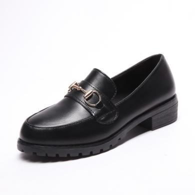 西瑞新款粗跟单鞋女时尚金属装饰增高女鞋哑光亮面可选MN800