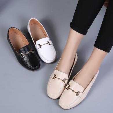 西瑞新款平底单鞋懒人套脚鞋一脚蹬浅口单鞋女MNM178