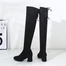 西瑞新款高筒長筒靴女過膝長靴彈力靴女靴單靴中跟粗跟MNA8515