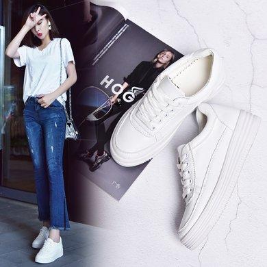 西瑞新款休?#34892;?#22899;韩版单鞋增高女鞋松糕鞋小白鞋MN1613