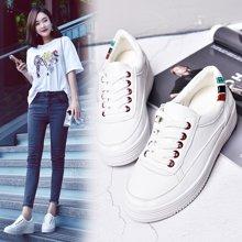 西瑞新款休闲鞋女韩版单鞋增高女鞋松糕鞋小白鞋MN1613