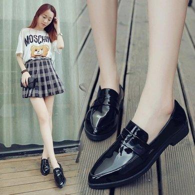 小皮鞋女學生春秋新款平底淺口單鞋黑色鞋子女復古英倫風女鞋MN786