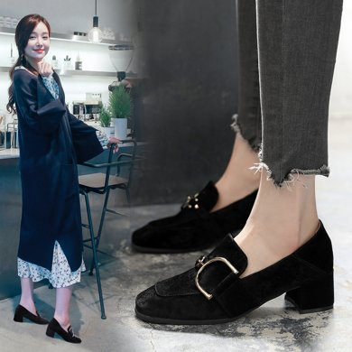 高跟鞋女春季新款单鞋通勤白领OL风简约粗跟方跟鞋子女百搭LP057-1