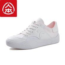 人本皮面小白鞋女?#38041;?#30334;搭厚底女鞋子学生韩版休闲板鞋系带运动鞋