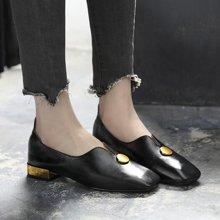 春季新款低跟淺口單鞋女韓版方頭漆皮粗跟小皮鞋英LP1002