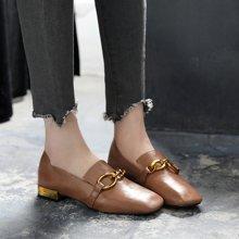 英倫春款女鞋低跟小皮鞋單鞋百搭簡約鞋方頭街拍潮LP1001