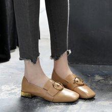單鞋女新款粗跟低跟復古方頭軟妹小皮鞋女英倫風豆豆鞋女LP1003