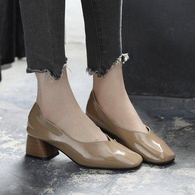春季新款浅口女鞋中跟奶奶鞋粗跟单鞋女平底韩版百搭工作鞋女LP556
