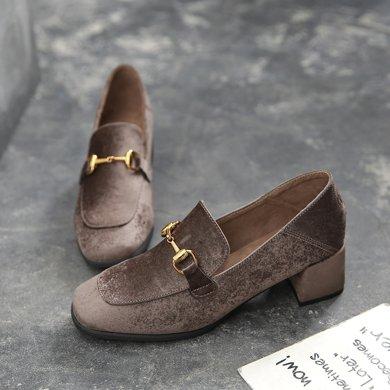 马衔扣乐福鞋踩脚复古单鞋平底小皮鞋女新款穆勒鞋英伦风女鞋LP055-5
