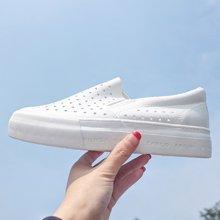 人本懒人一脚蹬女鞋子夏镂空透气小白鞋平跟学生鞋厚底松糕乐福鞋