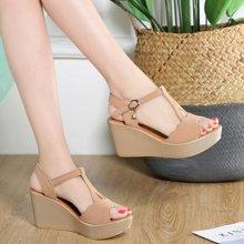 西瑞新款坡跟防水臺涼鞋女四色可選高跟鞋女MNB1801