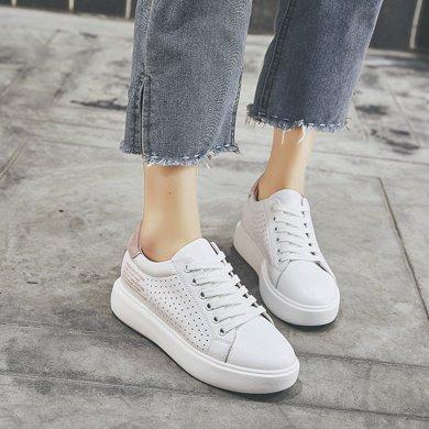 小白鞋女夏季薄款透气单鞋新款松糕鞋韩版百搭厚底运动休闲鞋LP830-15
