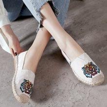 MIJI渔夫鞋女新款韩版帆布鞋单鞋平?#26700;?#20154;鞋亚麻草编休闲一脚蹬夏MND-A50