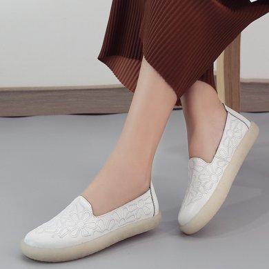米基新款休閑鞋真皮一腳蹬套腳牛津底平跟刺繡小皮鞋果凍女鞋LC8331