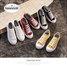 honeyGIRL女鞋平底板鞋原宿韩版学生ulzzang帆布鞋子HG18SP341XT808