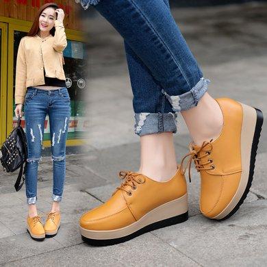 新款高跟皮鞋松糕底休閑簡約皮鞋子女穿裙褲配的單鞋韓風AL3599