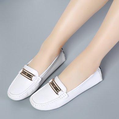 新款软底驾车鞋休闲女鞋金属扣平底防滑豆豆鞋一脚蹬懒人鞋LCbl-101