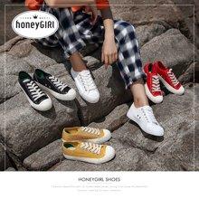 honeyGIRL女鞋韩版ulzzang帆布鞋休闲小白鞋平底板鞋HG18SP351XT812