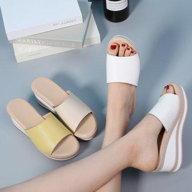 西瑞新款夏季厚底坡跟女涼鞋一字拖女鞋高跟防水臺涼鞋魚嘴MN2012