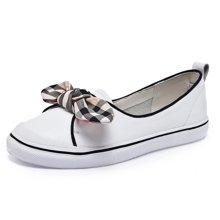 搭歌 夏季新款浅口平底一脚蹬懒人学生休闲牛皮小白鞋  1808
