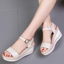 西瑞夏季新款波浪皮涼鞋女士厚底防水臺搭扣帶露趾涼鞋MNA2019
