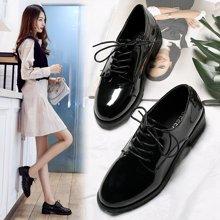 西瑞新款休闲鞋女时尚粗跟低跟单鞋女亮皮哑光可选MN9815