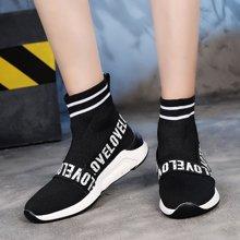 女鞋ins超火袜子鞋女新款韩版ulzzang厚底百搭休闲运动高帮鞋MX9908