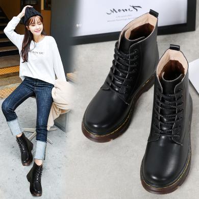 西瑞新款馬丁靴女時尚第帶短靴真皮時尚女靴高幫鞋加毛雪地靴MN877